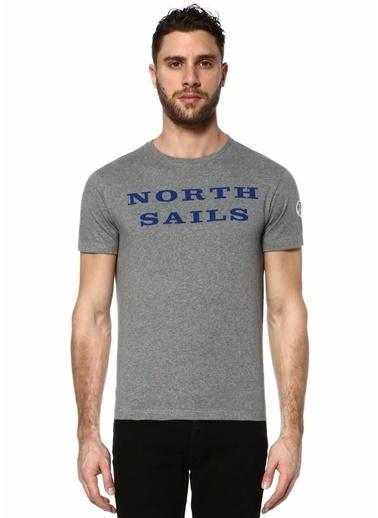 North Sails Bisiklet Yaka Baskılı Tişört Gri